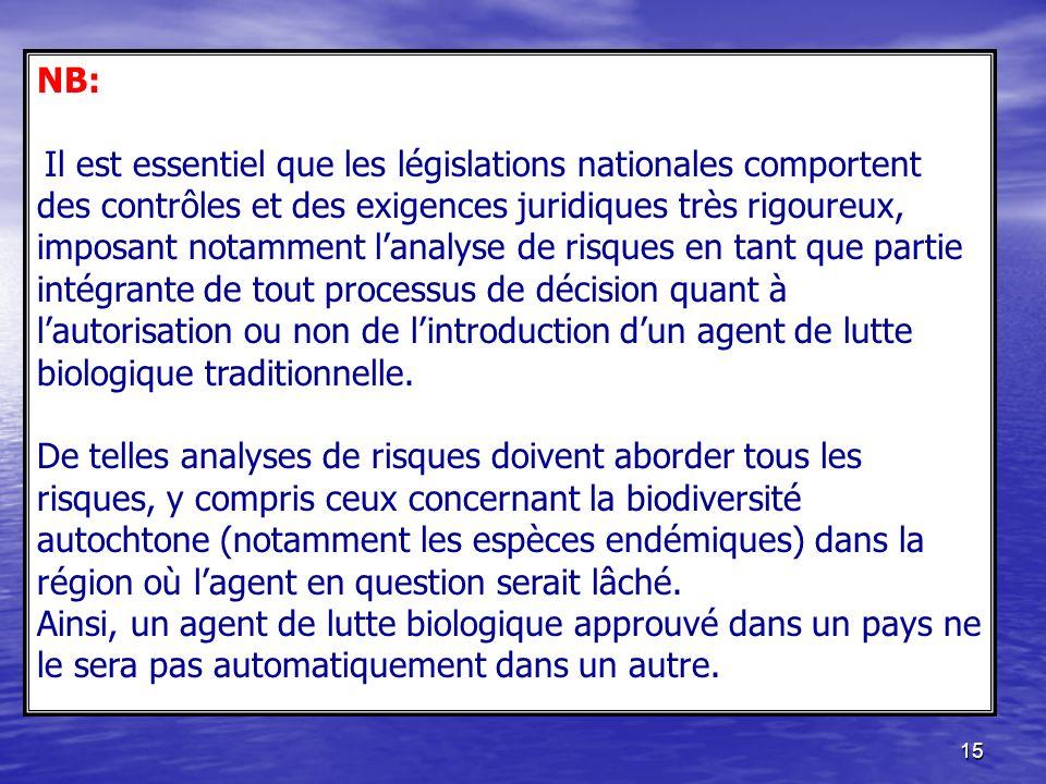 15 NB: Il est essentiel que les législations nationales comportent des contrôles et des exigences juridiques très rigoureux, imposant notamment lanaly