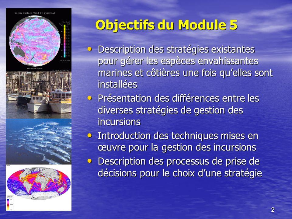 2 Objectifs du Module 5 Description des stratégies existantes pour gérer les espèces envahissantes marines et côtières une fois quelles sont installée