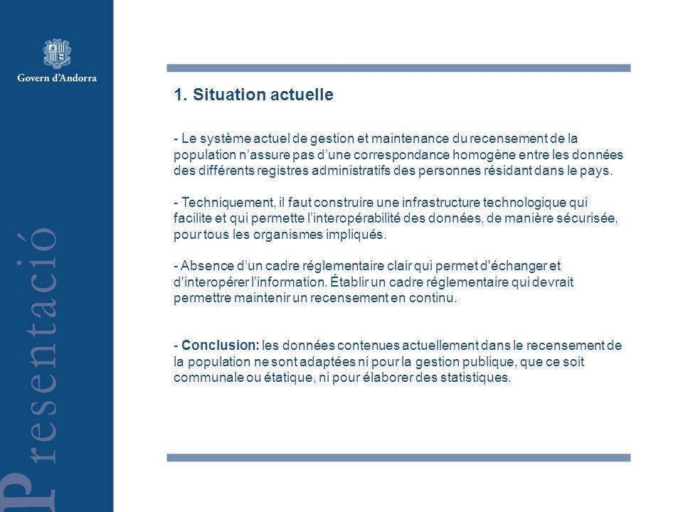 1. Situation actuelle - Le système actuel de gestion et maintenance du recensement de la population nassure pas dune correspondance homogène entre les