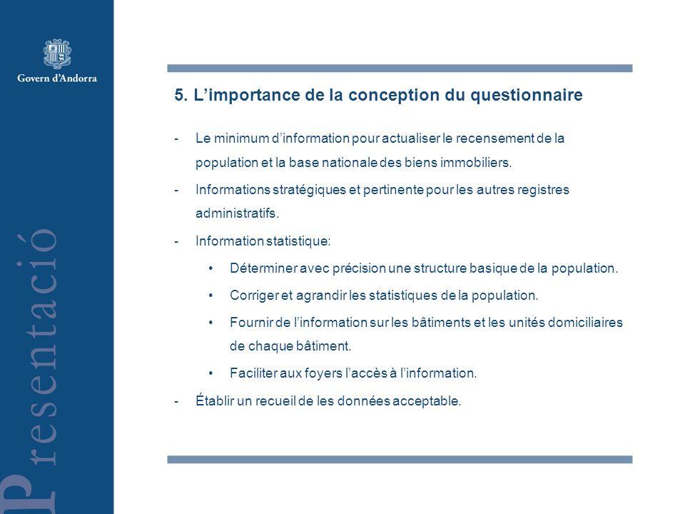 5. Limportance de la conception du questionnaire -Le minimum dinformation pour actualiser le recensement de la population et la base nationale des bie