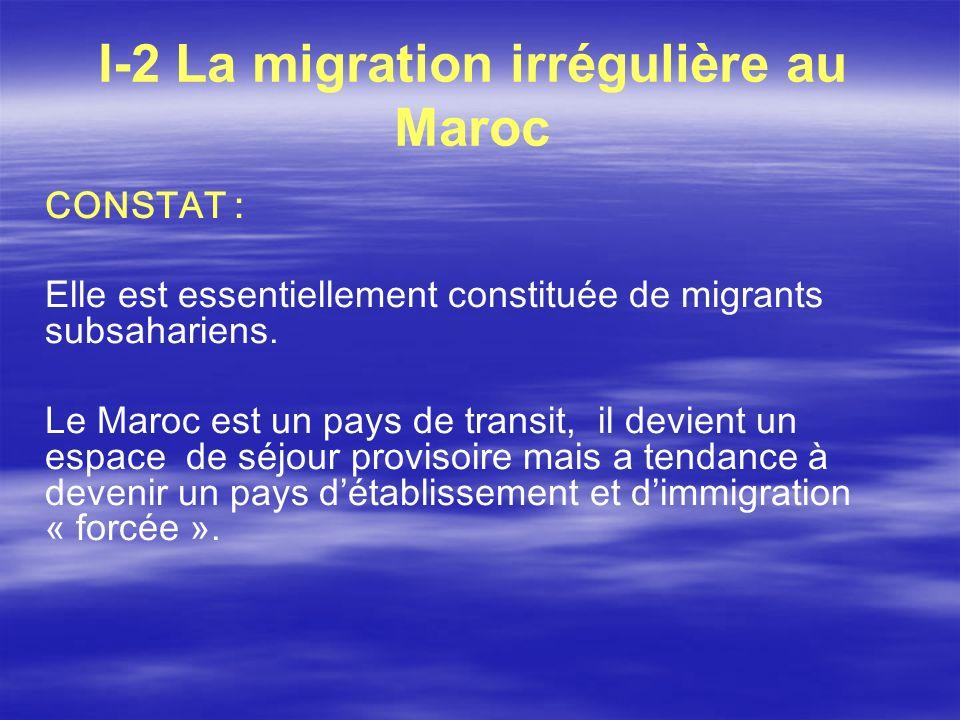 I-2 La migration irrégulière au Maroc CONSTAT : Elle est essentiellement constituée de migrants subsahariens. Le Maroc est un pays de transit, il devi