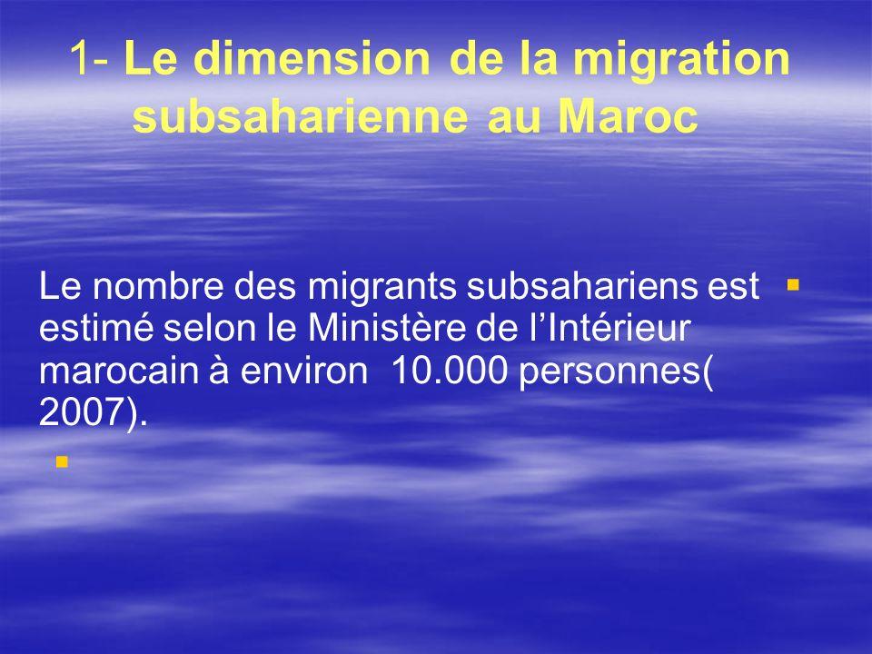 1- Le dimension de la migration subsaharienne au Maroc Le nombre des migrants subsahariens est estimé selon le Ministère de lIntérieur marocain à envi