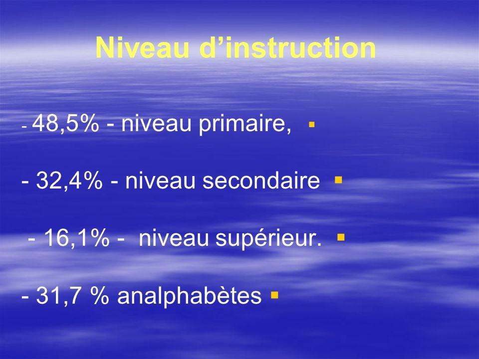 Niveau dinstruction - 48,5% - niveau primaire, - 32,4% - niveau secondaire - 16,1% - niveau supérieur. - 31,7 % analphabètes