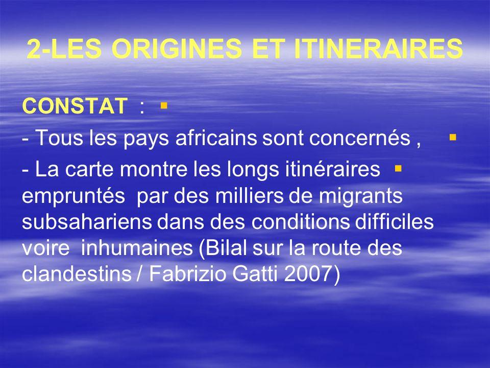 2-LES ORIGINES ET ITINERAIRES CONSTAT : - Tous les pays africains sont concernés, - La carte montre les longs itinéraires empruntés par des milliers d
