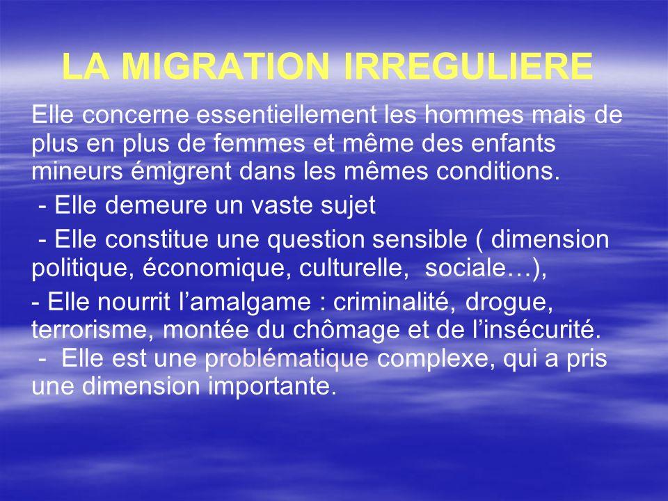 I-1 LA MIGRATION IRREGULIERE ENTRE LES DEUX RIVES DE LA MEDITERRANEE a question migratoire et les politiques qui lui sont dédiées acquièrent une importance particulière dans le bassin méditerranéen, espace où elle constitue un enjeu central dans les relations entre les deux rives de la Méditerranée.