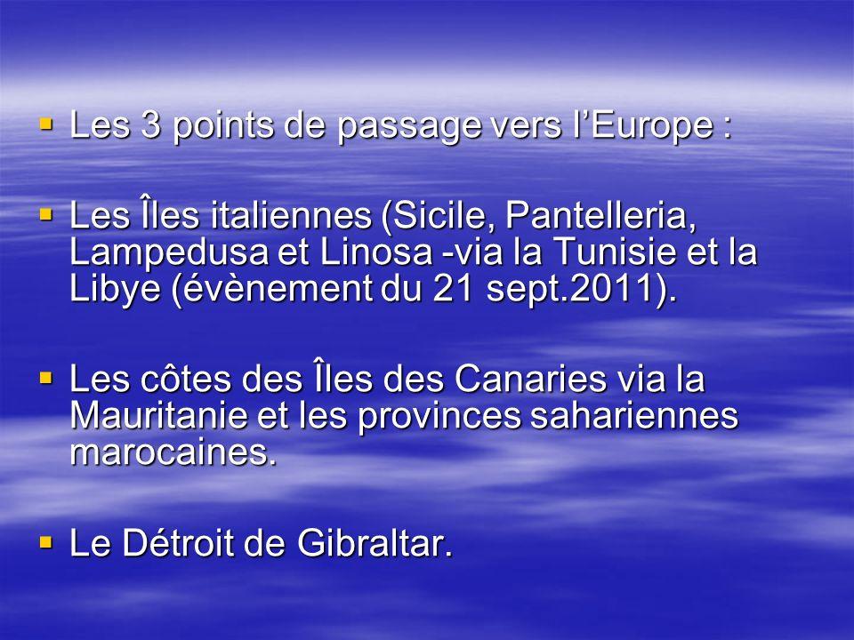 Les 3 points de passage vers lEurope : Les 3 points de passage vers lEurope : Les Îles italiennes (Sicile, Pantelleria, Lampedusa et Linosa -via la Tu