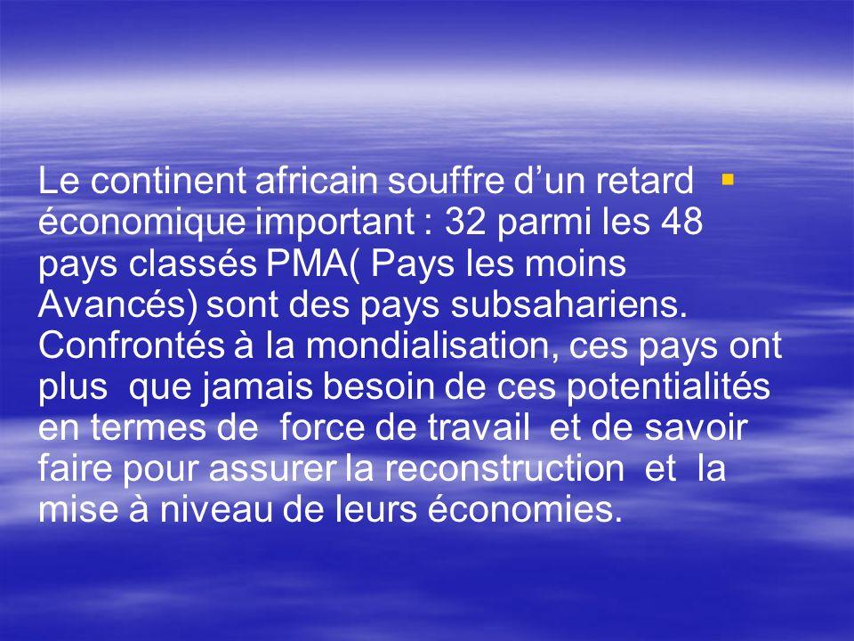 Le continent africain souffre dun retard économique important : 32 parmi les 48 pays classés PMA( Pays les moins Avancés) sont des pays subsahariens.