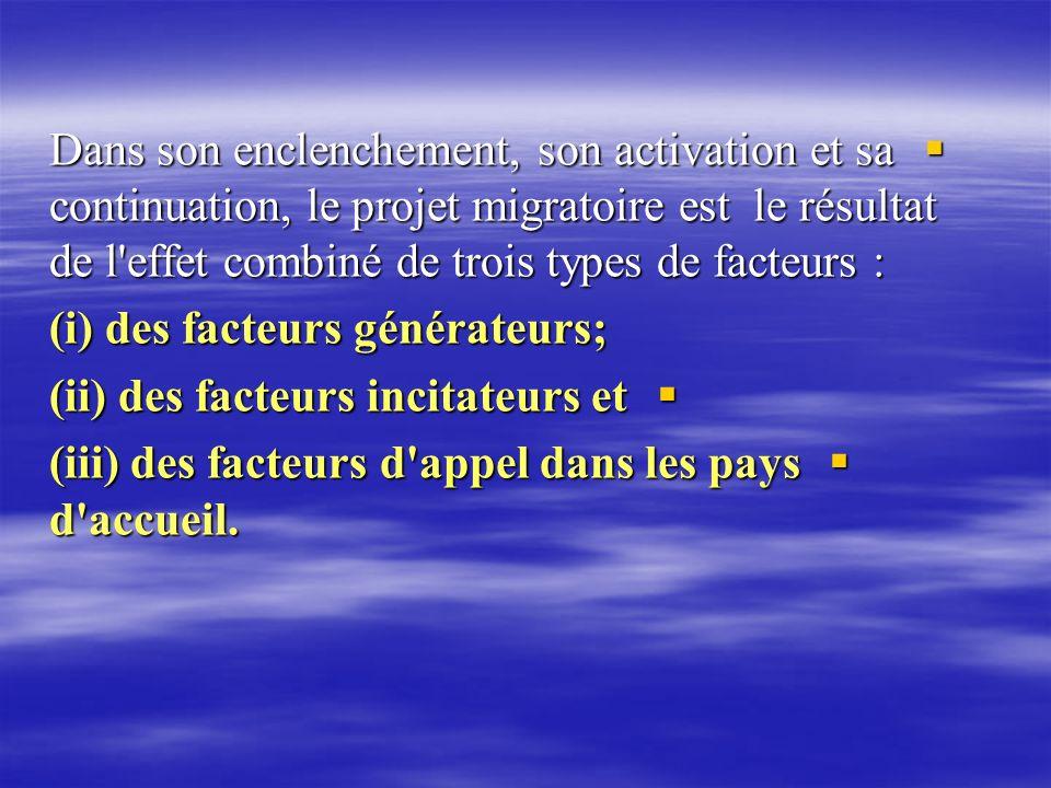 Dans son enclenchement, son activation et sa continuation, le projet migratoire est le résultat de l'effet combiné de trois types de facteurs : Dans s
