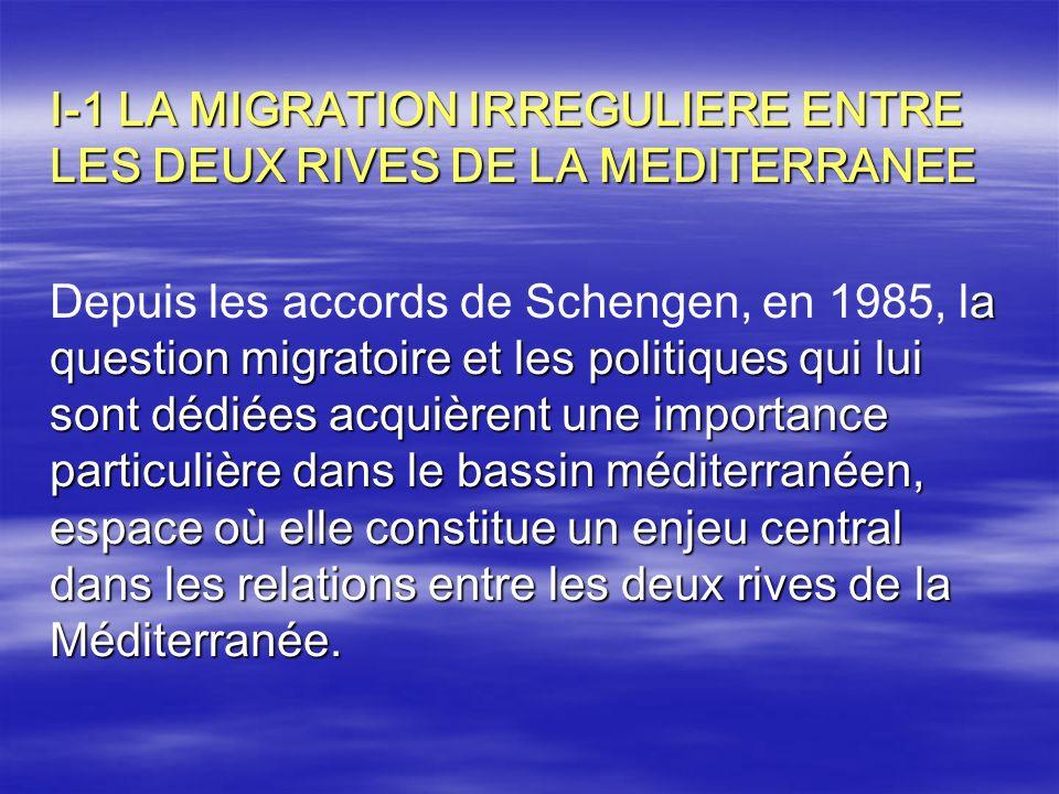 I-1 LA MIGRATION IRREGULIERE ENTRE LES DEUX RIVES DE LA MEDITERRANEE a question migratoire et les politiques qui lui sont dédiées acquièrent une impor