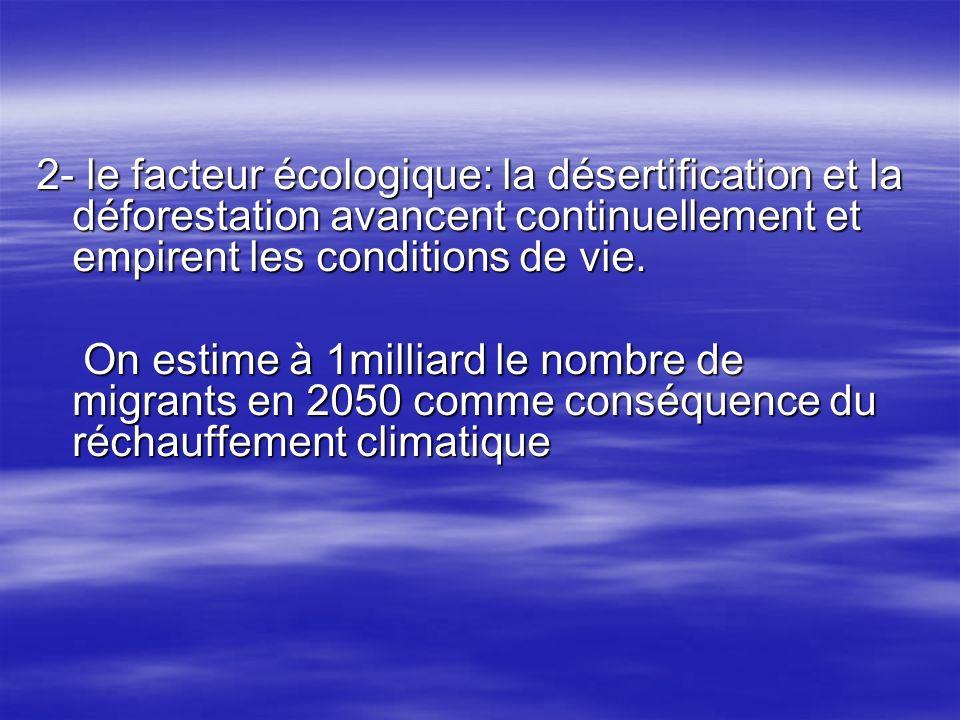 2- le facteur écologique: la désertification et la déforestation avancent continuellement et empirent les conditions de vie. On estime à 1milliard le