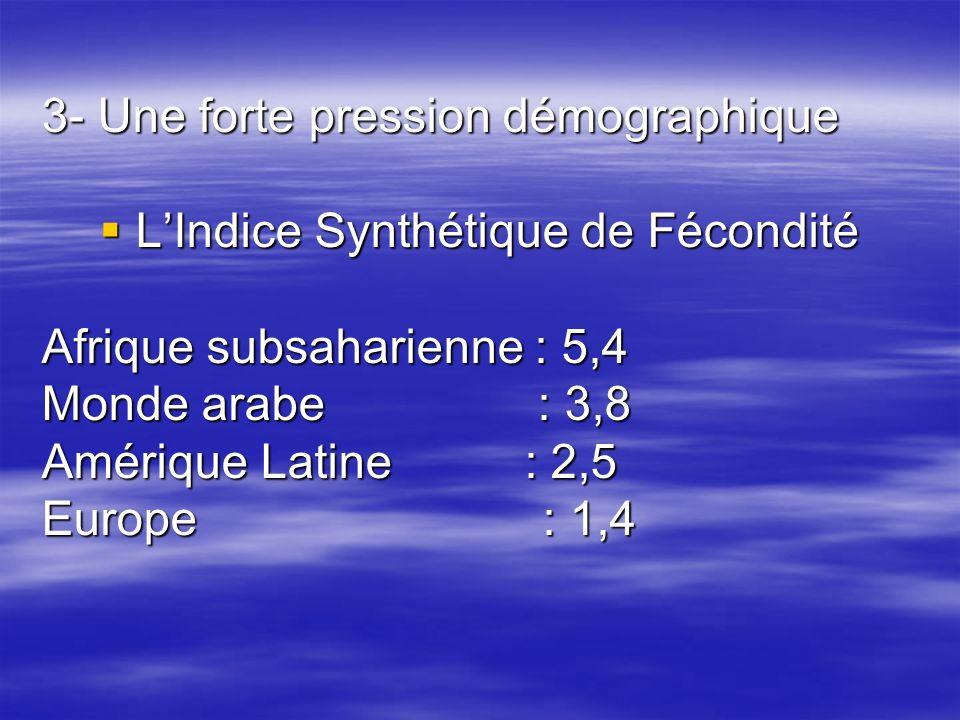 3- Une forte pression démographique LIndice Synthétique de Fécondité LIndice Synthétique de Fécondité Afrique subsaharienne : 5,4 Monde arabe : 3,8 Am