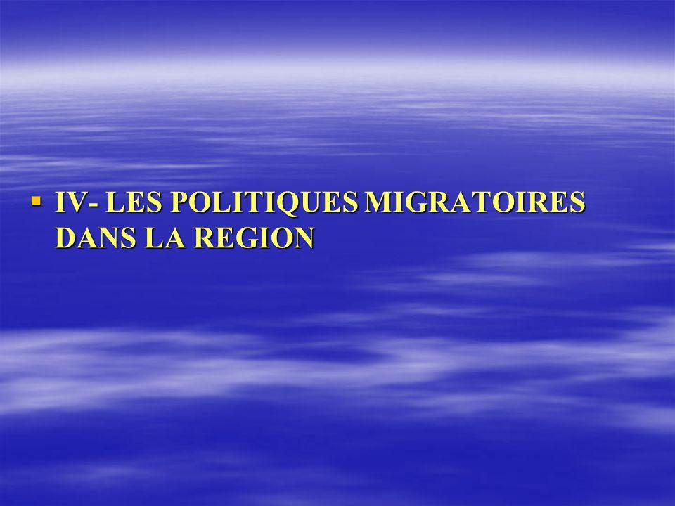 IV- LES POLITIQUES MIGRATOIRES DANS LA REGION IV- LES POLITIQUES MIGRATOIRES DANS LA REGION