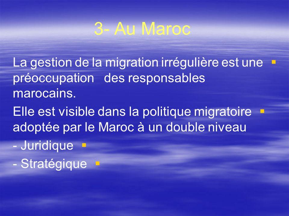 3- Au Maroc La gestion de la migration irrégulière est une préoccupation des responsables marocains. Elle est visible dans la politique migratoire ado