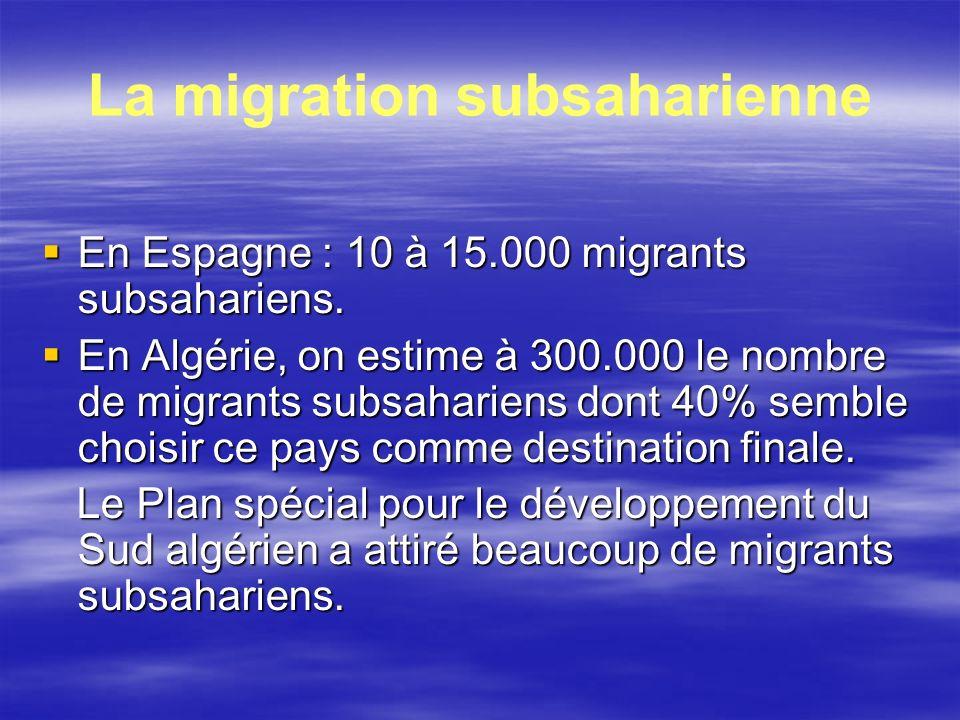 La migration subsaharienne En Espagne : 10 à 15.000 migrants subsahariens. En Espagne : 10 à 15.000 migrants subsahariens. En Algérie, on estime à 300