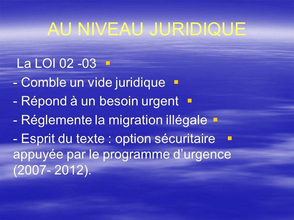 AU NIVEAU JURIDIQUE La LOI 02 -03 - Comble un vide juridique - Répond à un besoin urgent - Réglemente la migration illégale - Esprit du texte : option