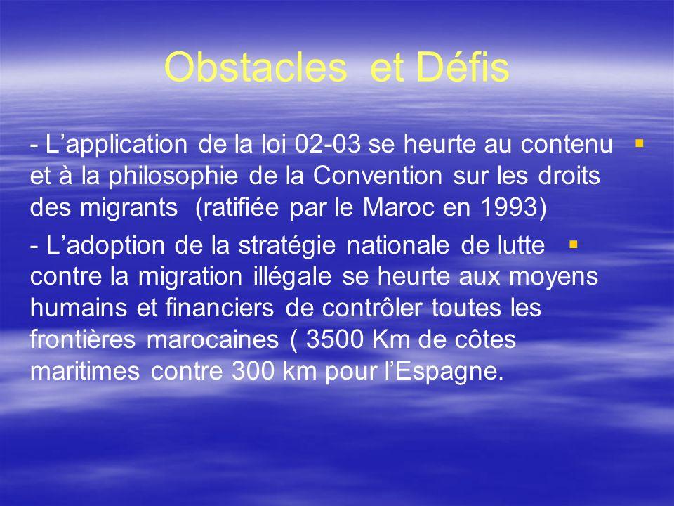 Obstacles et Défis - Lapplication de la loi 02-03 se heurte au contenu et à la philosophie de la Convention sur les droits des migrants (ratifiée par