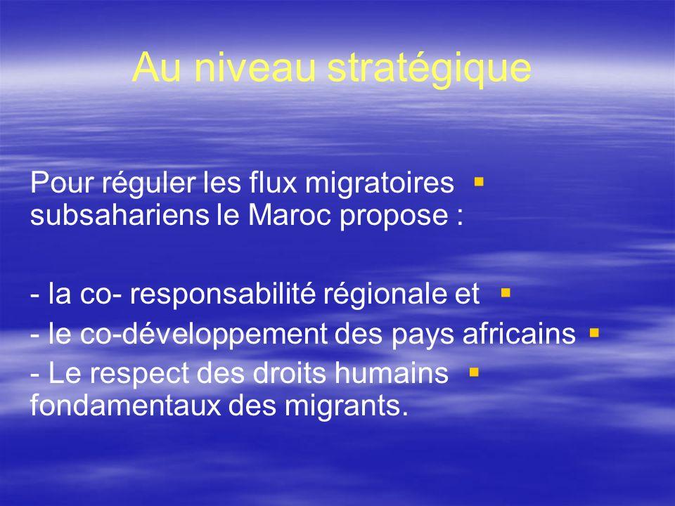 Au niveau stratégique Pour réguler les flux migratoires subsahariens le Maroc propose : - la co- responsabilité régionale et - le co-développement des