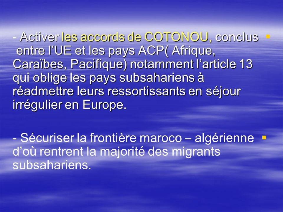 Activer les accords de COTONOU, conclus entre lUE et les pays ACP( Afrique, Caraïbes, Pacifique) notamment larticle 13 qui oblige les pays subsaharien