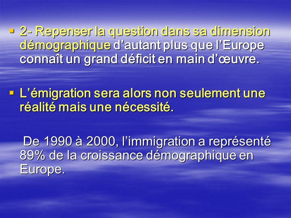 2- Repenser la question dans sa dimension démographique dautant plus que lEurope connaît un grand déficit en main dœuvre. 2- Repenser la question dans