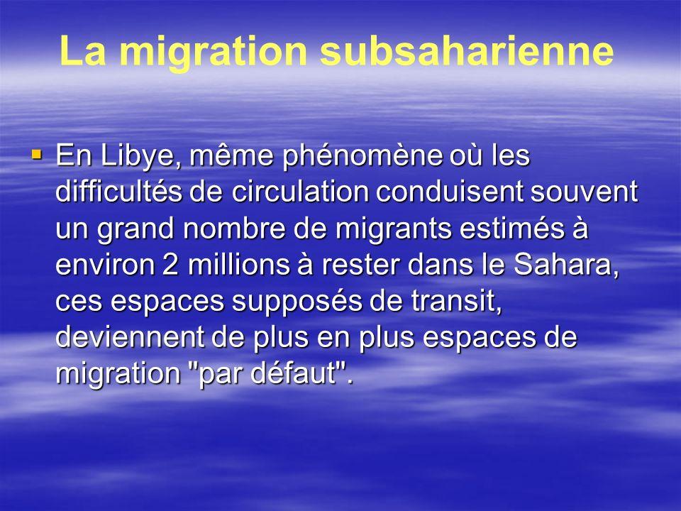 La migration subsaharienne En Libye, même phénomène où les difficultés de circulation conduisent souvent un grand nombre de migrants estimés à environ