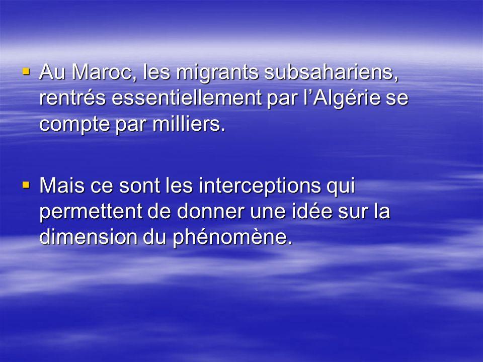 Au Maroc, les migrants subsahariens, rentrés essentiellement par lAlgérie se compte par milliers. Au Maroc, les migrants subsahariens, rentrés essenti