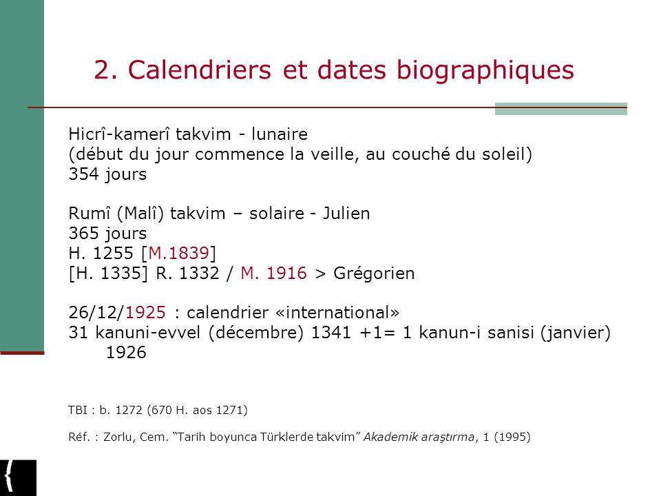 2. Calendriers et dates biographiques Hicrî-kamerî takvim - lunaire (début du jour commence la veille, au couché du soleil) 354 jours Rumî (Malî) takv