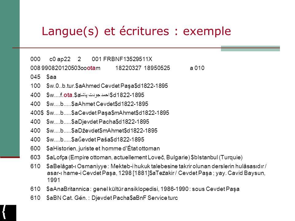 Langue(s) et écritures : exemple 000 c0 ap22 2 001 FRBNF13529511X 008 990820120503oootam 18220327 18950525 a 010 045 $aa 100 $w.0..b.tur.$aAhmed Cevde