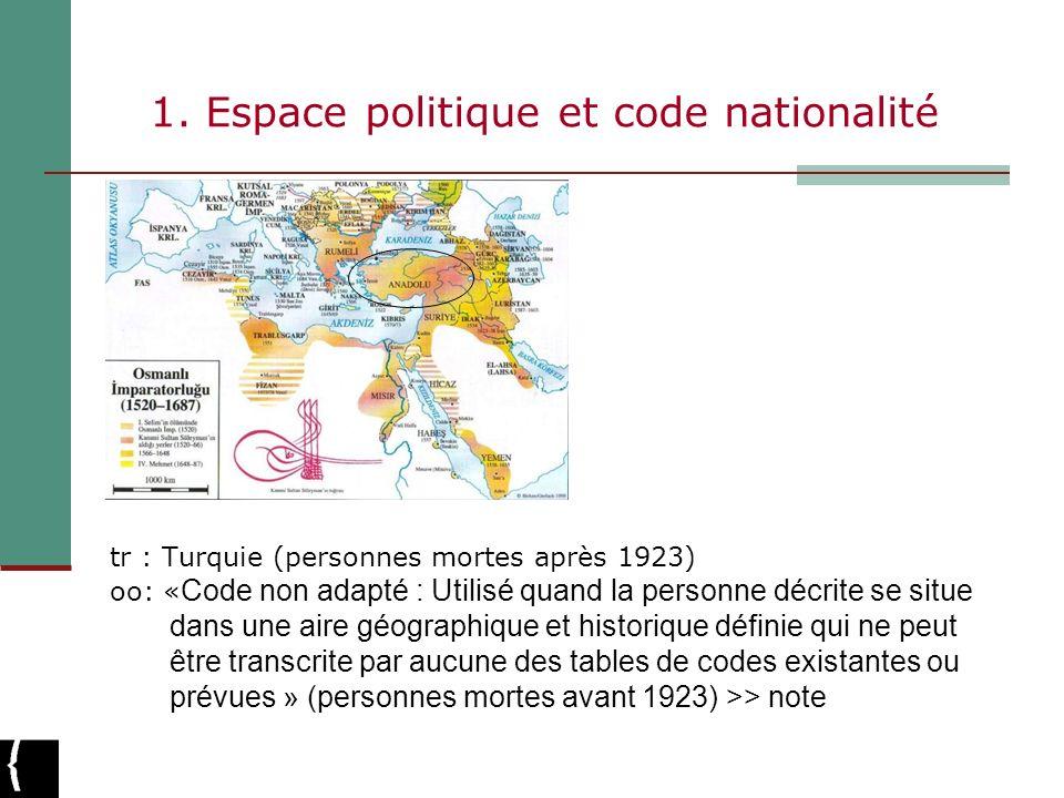 1. Espace politique et code nationalité tr : Turquie (personnes mortes après 1923) oo: « Code non adapté : Utilisé quand la personne décrite se situe