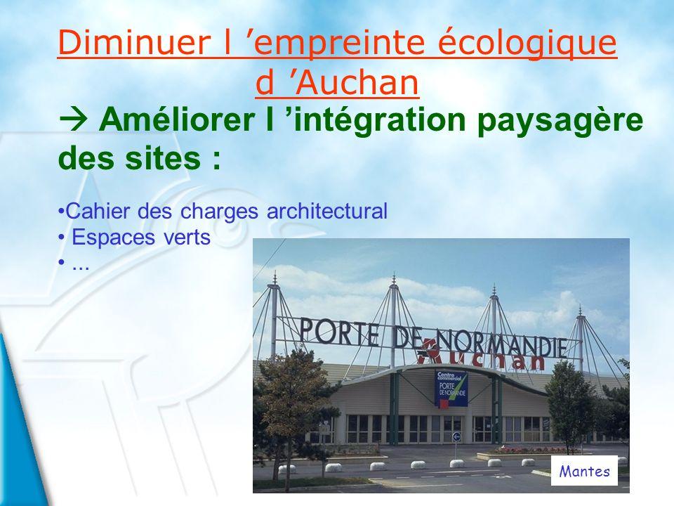 Diminuer l empreinte écologique d Auchan Améliorer l intégration paysagère des sites : Cahier des charges architectural Espaces verts...