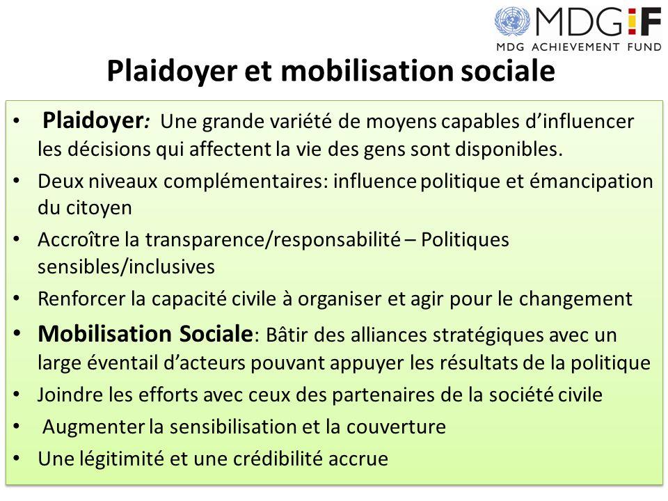 MDG-F Stratégie de plaidoyer But: Accélérer les progrès relatifs aux ODMs augmentant la prise de conscience; renforcer le support et laction, et; augmenter lengagement civique dans les politiques et pratiques relatives aux ODMs.