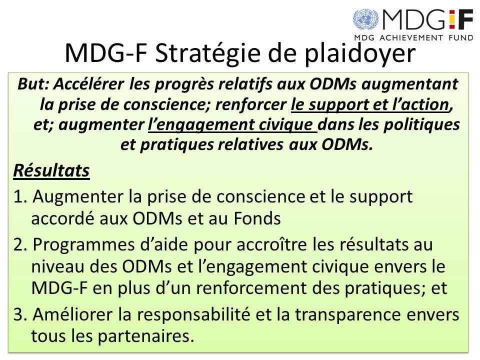 MDG-F Stratégie de plaidoyer But: Accélérer les progrès relatifs aux ODMs augmentant la prise de conscience; renforcer le support et laction, et; augm