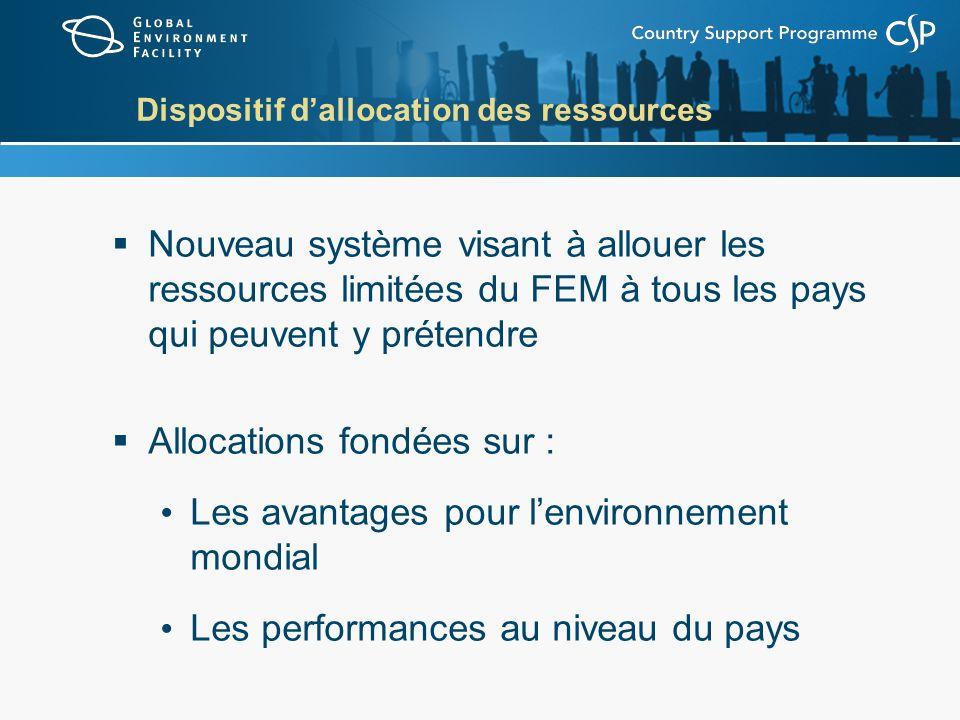 Dispositif dallocation des ressources Nouveau système visant à allouer les ressources limitées du FEM à tous les pays qui peuvent y prétendre Allocati