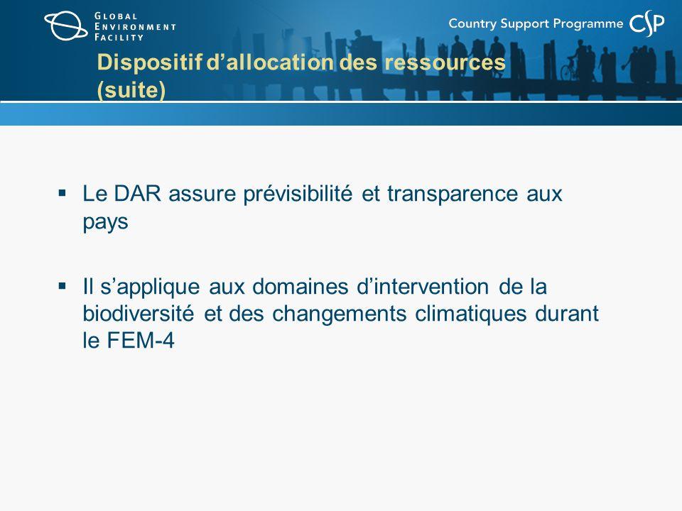 Dispositif dallocation des ressources (suite) Le DAR assure prévisibilité et transparence aux pays Il sapplique aux domaines dintervention de la biodiversité et des changements climatiques durant le FEM-4