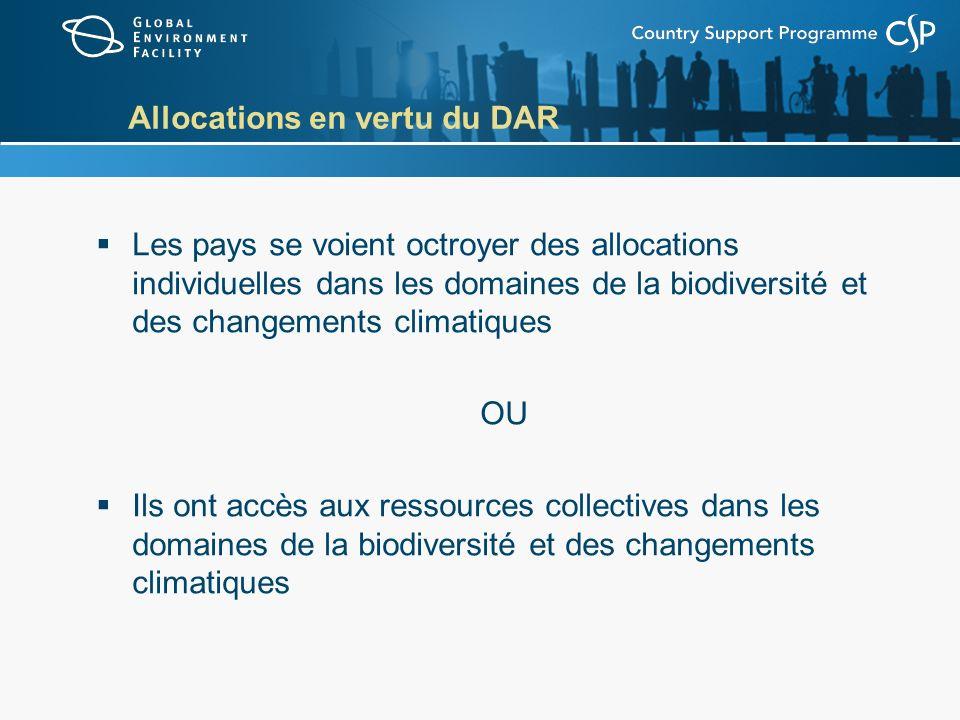 Allocations en vertu du DAR Les pays se voient octroyer des allocations individuelles dans les domaines de la biodiversité et des changements climatiques OU Ils ont accès aux ressources collectives dans les domaines de la biodiversité et des changements climatiques