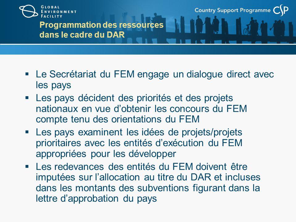 Programmation des ressources dans le cadre du DAR Le Secrétariat du FEM engage un dialogue direct avec les pays Les pays décident des priorités et des projets nationaux en vue dobtenir les concours du FEM compte tenu des orientations du FEM Les pays examinent les idées de projets/projets prioritaires avec les entités dexécution du FEM appropriées pour les développer Les redevances des entités du FEM doivent être imputées sur lallocation au titre du DAR et incluses dans les montants des subventions figurant dans la lettre dapprobation du pays