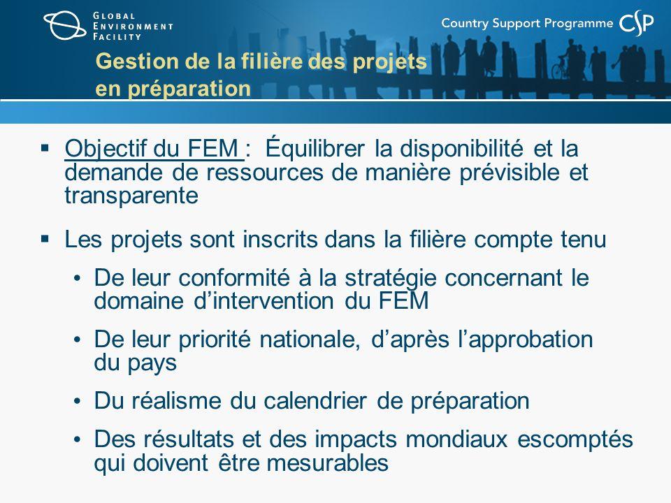 Gestion de la filière des projets en préparation Objectif du FEM : Équilibrer la disponibilité et la demande de ressources de manière prévisible et tr