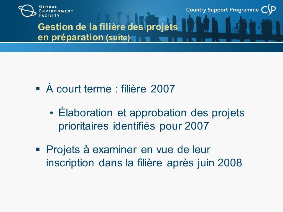 Gestion de la filière des projets en préparation (suite) À court terme : filière 2007 Élaboration et approbation des projets prioritaires identifiés pour 2007 Projets à examiner en vue de leur inscription dans la filière après juin 2008