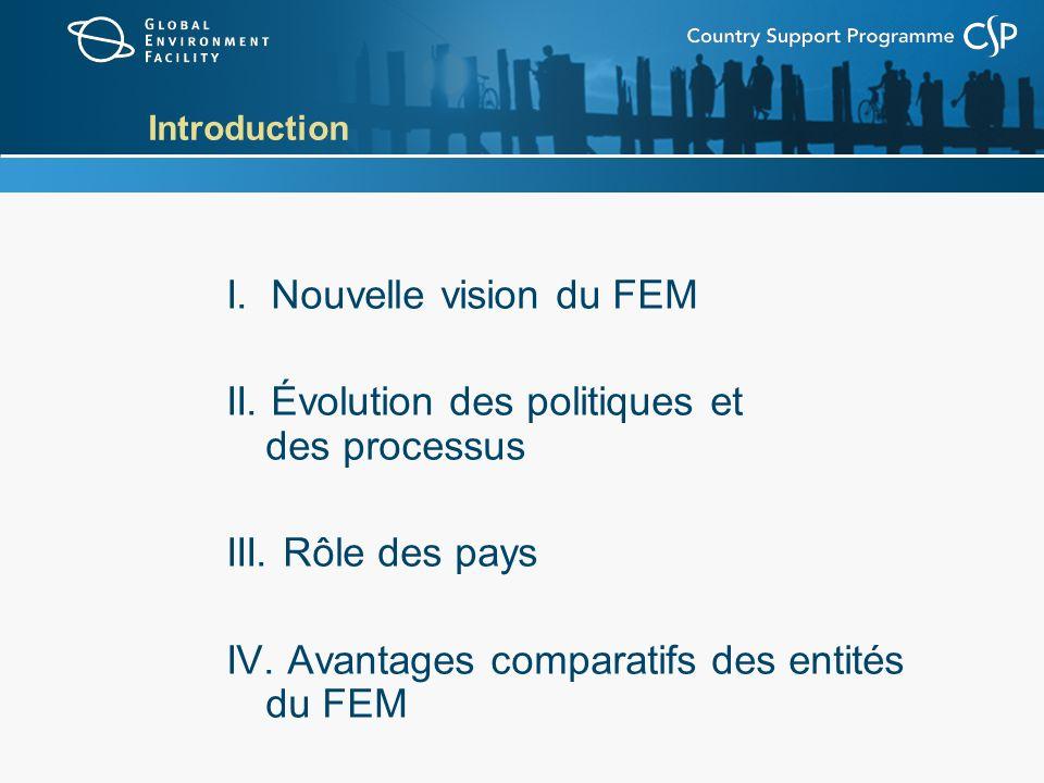 Introduction I. Nouvelle vision du FEM II. Évolution des politiques et des processus III. Rôle des pays IV. Avantages comparatifs des entités du FEM