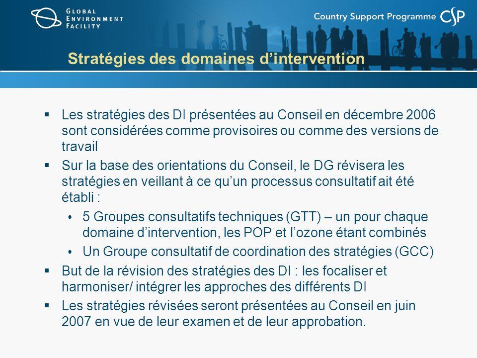 Stratégies des domaines dintervention Les stratégies des DI présentées au Conseil en décembre 2006 sont considérées comme provisoires ou comme des versions de travail Sur la base des orientations du Conseil, le DG révisera les stratégies en veillant à ce quun processus consultatif ait été établi : 5 Groupes consultatifs techniques (GTT) – un pour chaque domaine dintervention, les POP et lozone étant combinés Un Groupe consultatif de coordination des stratégies (GCC) But de la révision des stratégies des DI : les focaliser et harmoniser/ intégrer les approches des différents DI Les stratégies révisées seront présentées au Conseil en juin 2007 en vue de leur examen et de leur approbation.