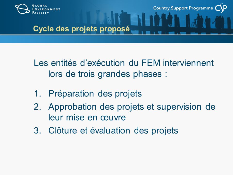 Cycle des projets proposé Les entités dexécution du FEM interviennent lors de trois grandes phases : 1.Préparation des projets 2.Approbation des proje
