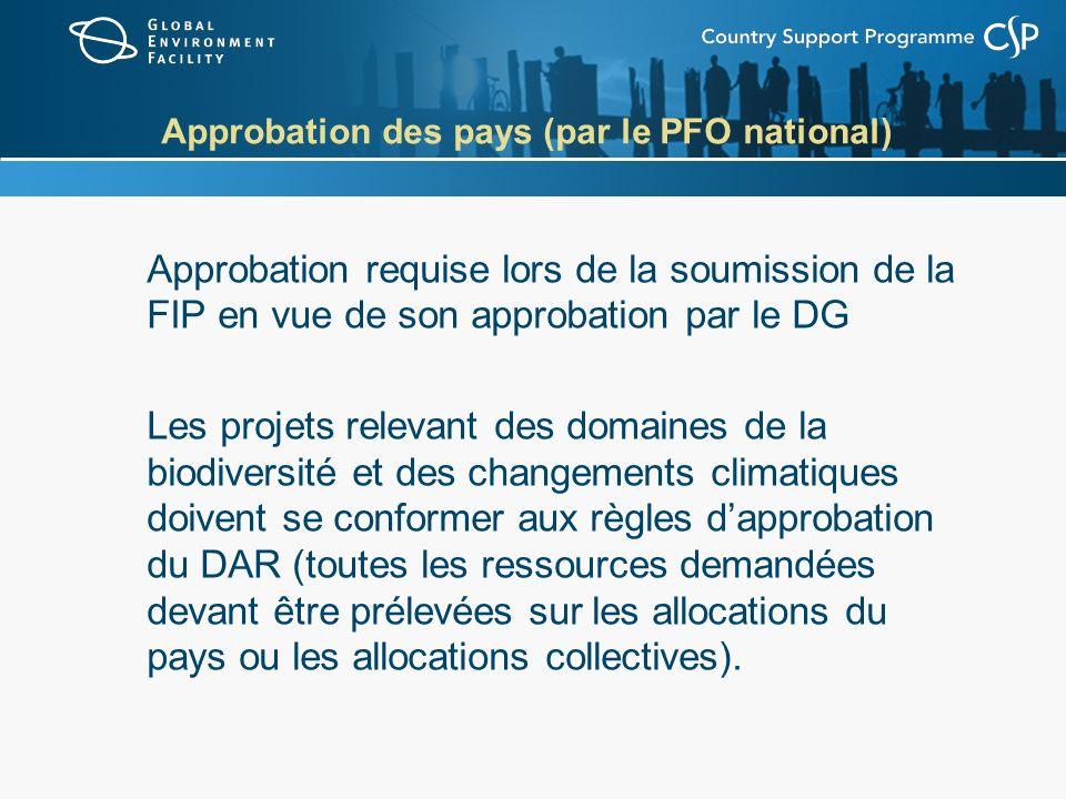 Approbation des pays (par le PFO national) Approbation requise lors de la soumission de la FIP en vue de son approbation par le DG Les projets relevan