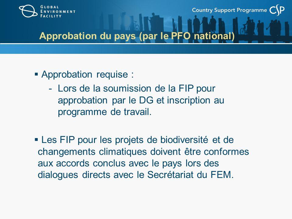 Approbation du pays (par le PFO national) Approbation requise : -Lors de la soumission de la FIP pour approbation par le DG et inscription au programm
