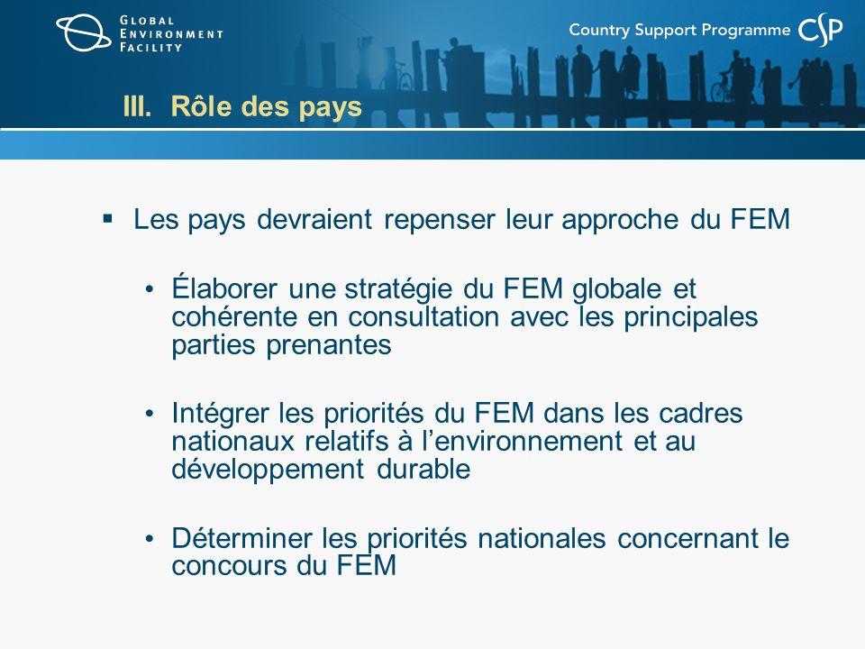 III. Rôle des pays Les pays devraient repenser leur approche du FEM Élaborer une stratégie du FEM globale et cohérente en consultation avec les princi