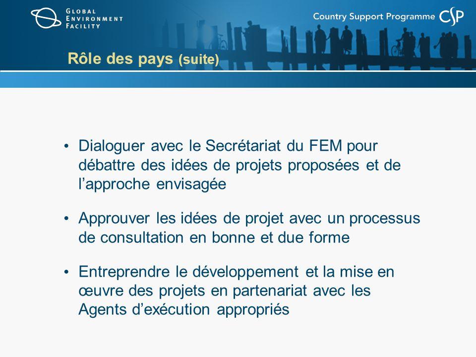 Rôle des pays (suite) Dialoguer avec le Secrétariat du FEM pour débattre des idées de projets proposées et de lapproche envisagée Approuver les idées de projet avec un processus de consultation en bonne et due forme Entreprendre le développement et la mise en œuvre des projets en partenariat avec les Agents dexécution appropriés