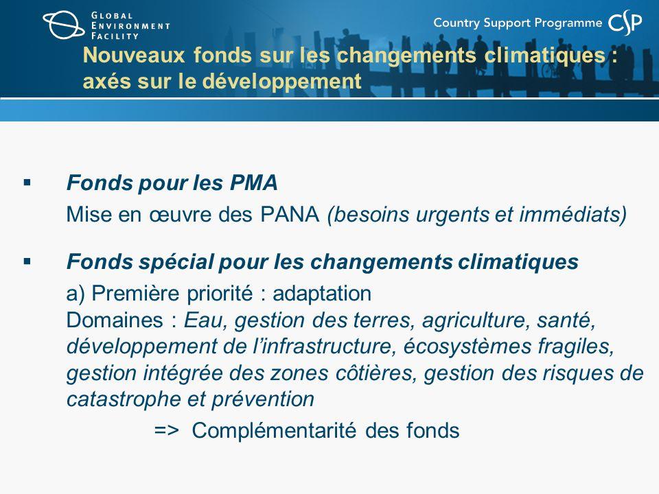 Nouveaux fonds sur les changements climatiques : axés sur le développement Fonds pour les PMA Mise en œuvre des PANA (besoins urgents et immédiats) Fonds spécial pour les changements climatiques a) Première priorité : adaptation Domaines : Eau, gestion des terres, agriculture, santé, développement de linfrastructure, écosystèmes fragiles, gestion intégrée des zones côtières, gestion des risques de catastrophe et prévention => Complémentarité des fonds