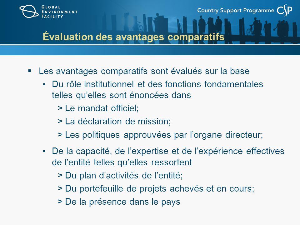 Évaluation des avantages comparatifs Les avantages comparatifs sont évalués sur la base Du rôle institutionnel et des fonctions fondamentales telles q