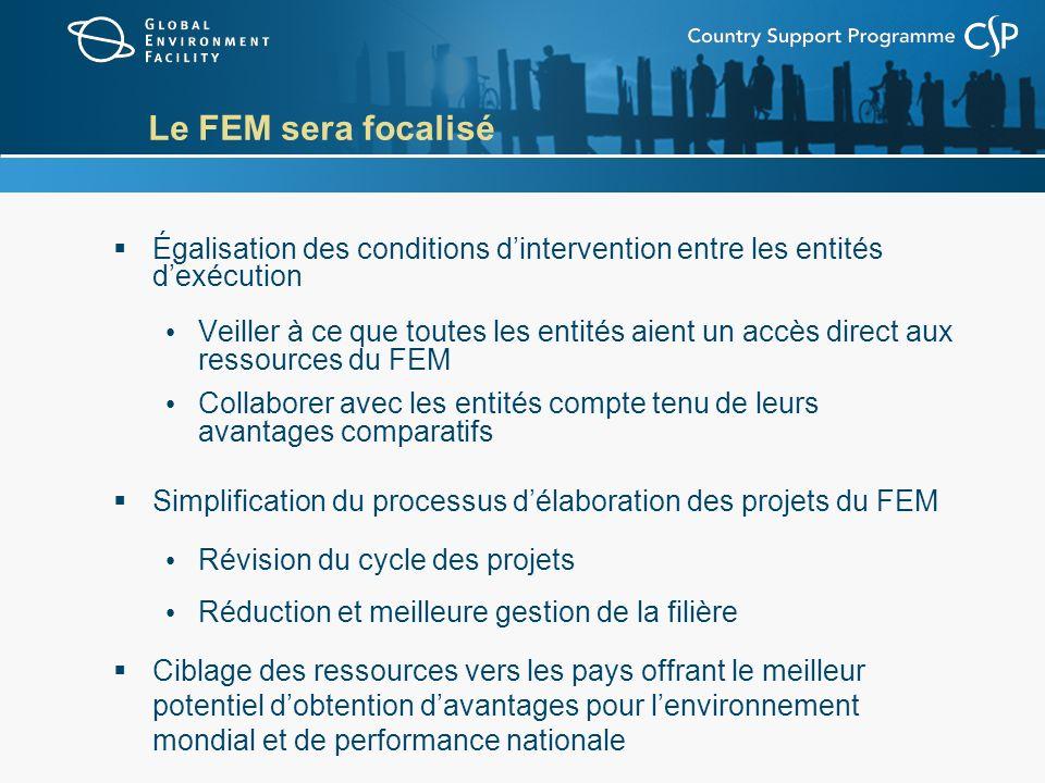 Le FEM sera focalisé Égalisation des conditions dintervention entre les entités dexécution Veiller à ce que toutes les entités aient un accès direct a