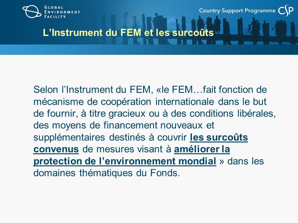 LInstrument du FEM et les surcoûts Selon lInstrument du FEM, «le FEM…fait fonction de mécanisme de coopération internationale dans le but de fournir,