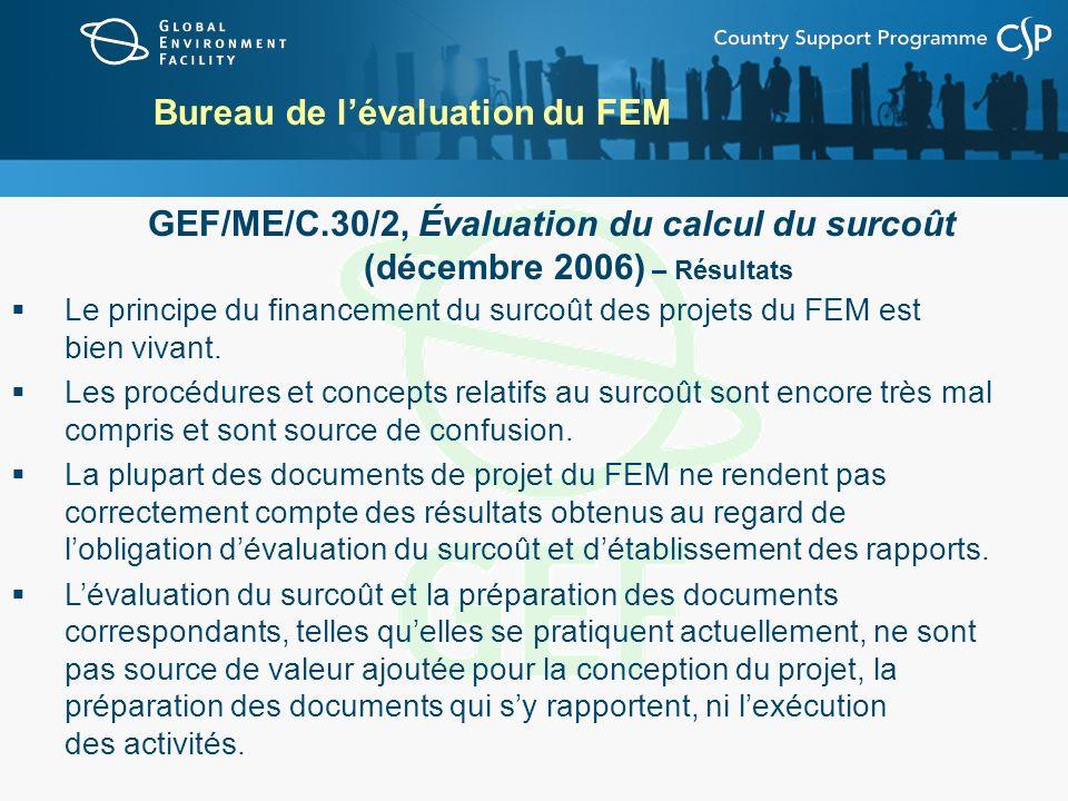 Bureau de lévaluation du FEM GEF/ME/C.30/2, Évaluation du calcul du surcoût (décembre 2006) – Résultats Le principe du financement du surcoût des proj