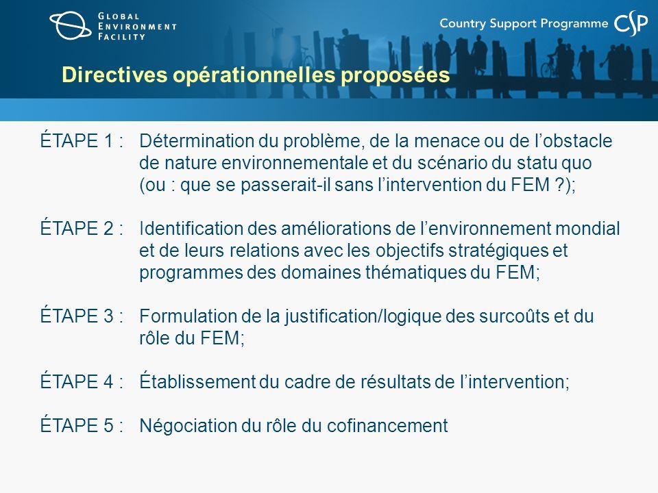 Directives opérationnelles proposées ÉTAPE 1 : Détermination du problème, de la menace ou de lobstacle de nature environnementale et du scénario du st